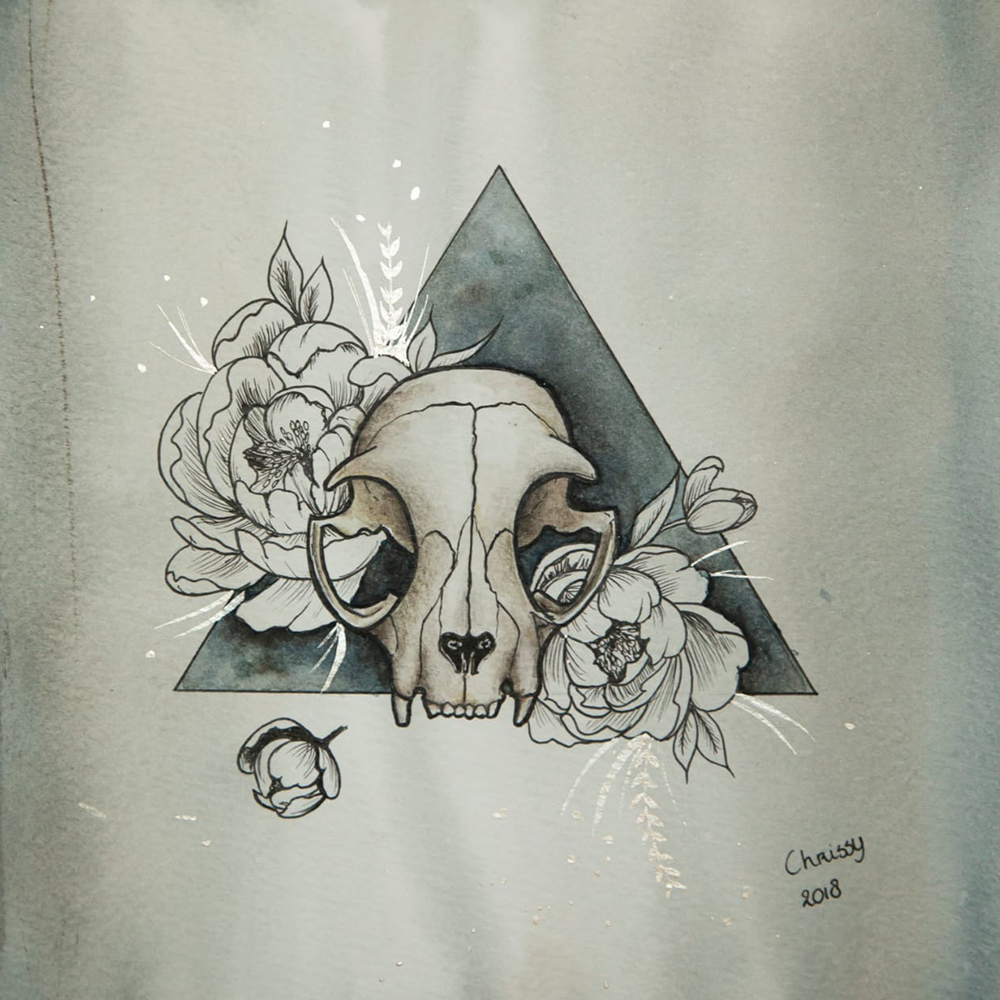 Painting cat skull